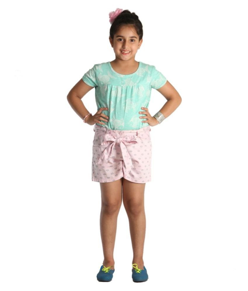 Light Pink Mercerized Cotton Shorts for girls with text print and fabric knotted belt by Paul & Doll