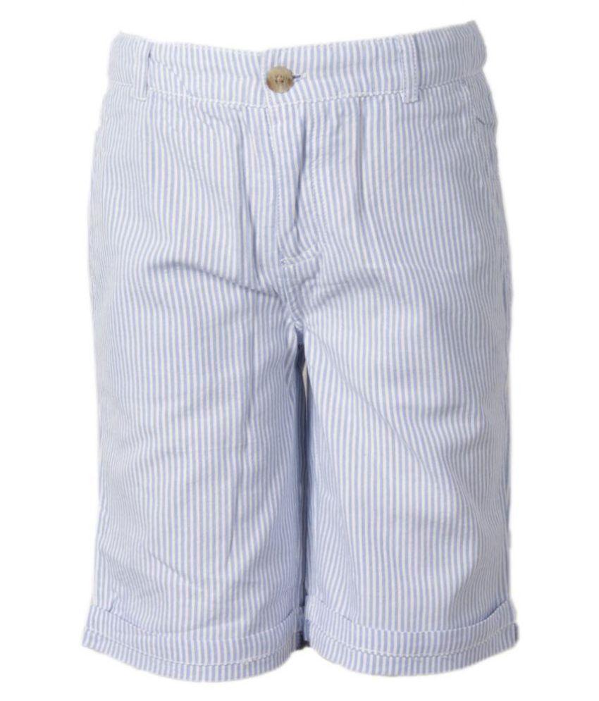 ShopperTree Girl Sky Blue Cotton Solid Short