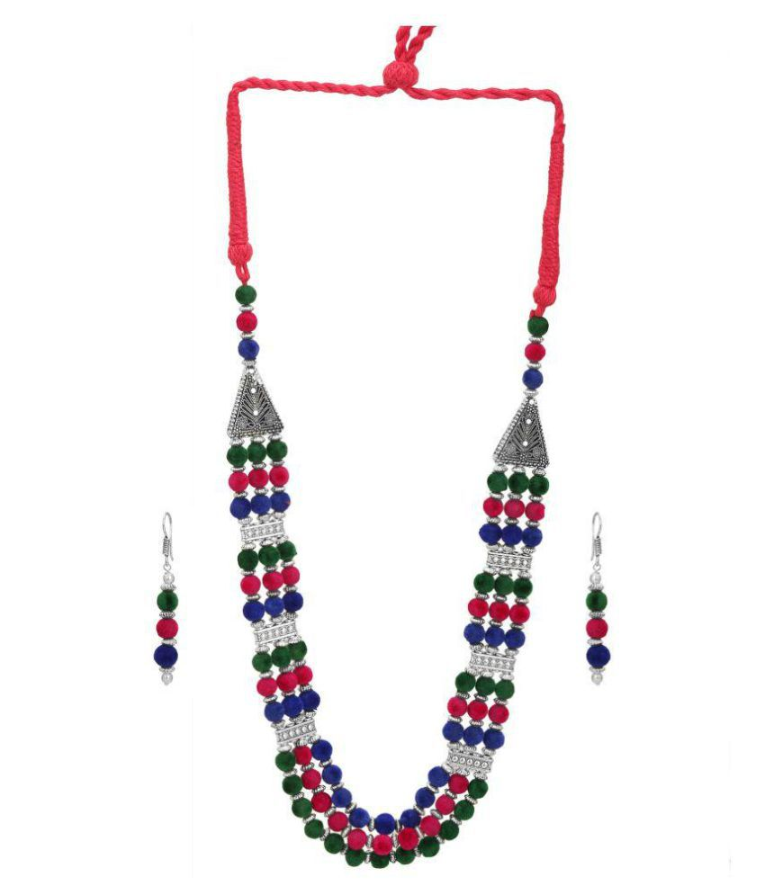 Dudi's Multi Colour Necklace In Mala Design With pair Of Earrings