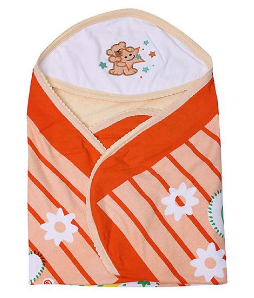 GURU KRIPA BABY PRODUCTS Orange Cotton Baby Wrap cum blanket ( 72 cm × 72 cm - 1 pcs)