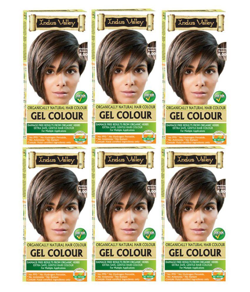 Indus Valley No PPD, No Ammonia Gel Hair Colour For Grey Coverage Permanent Hair Color Brown Medium Brown 4.00 1200 gm Pack of 6