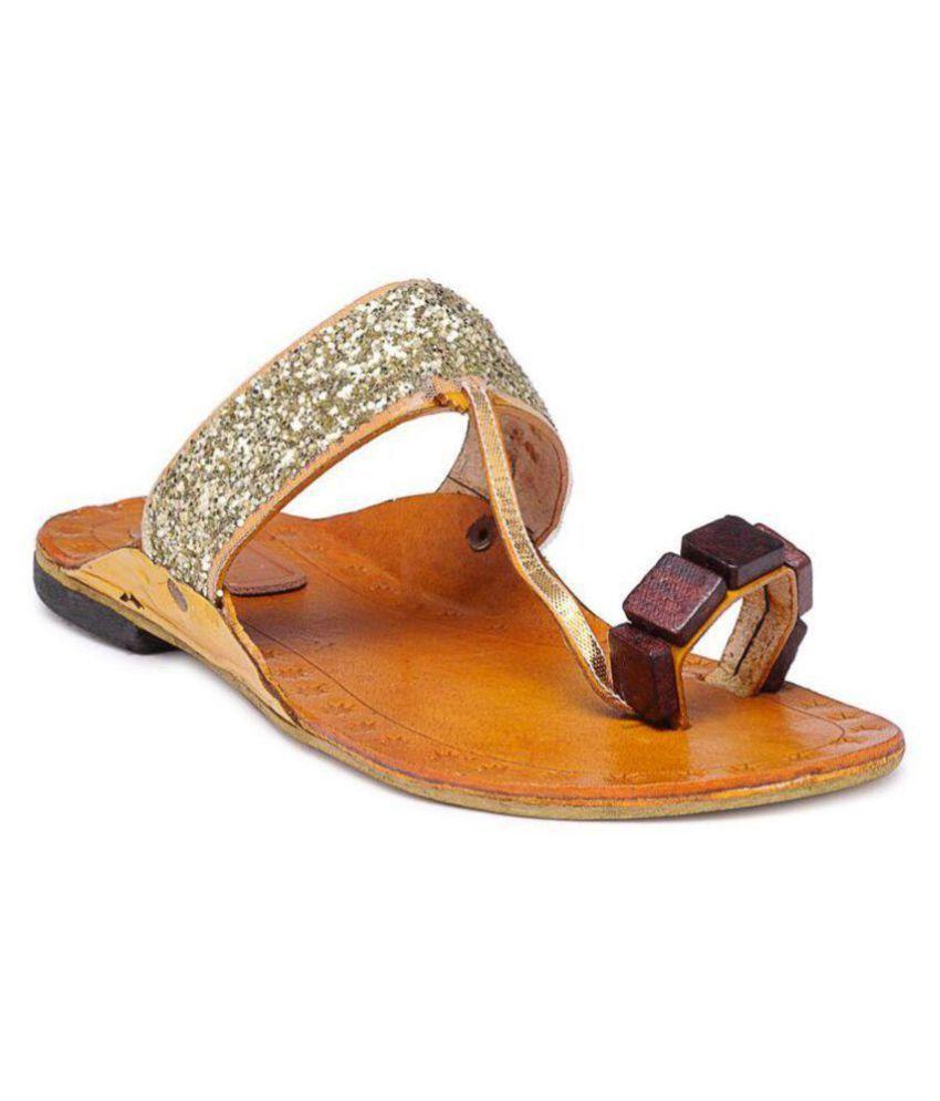 N-Gal Gold Ethnic Footwear