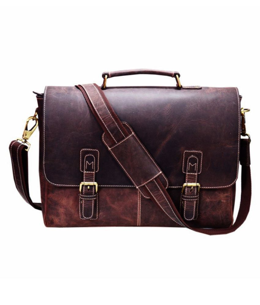 Zakara Brown Leather Office Messenger Bag
