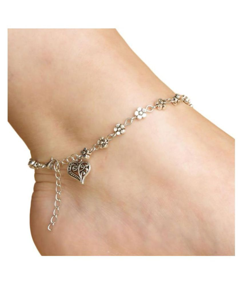 Ziory 1 Pcs Silver Vintage Girl Elegant Chain Fashion Heart Shaped Anklet Ankle Bracelet Stylish Traditional Jewellery for Girls and Women