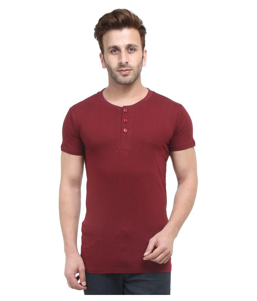 ACOMHARC INC Maroon Henley T-Shirt Pack of 1