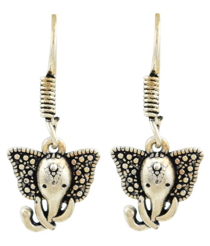 High Trendz Handmade Tribal German Silver Ganpati Dangle Earrings For Women And Girls