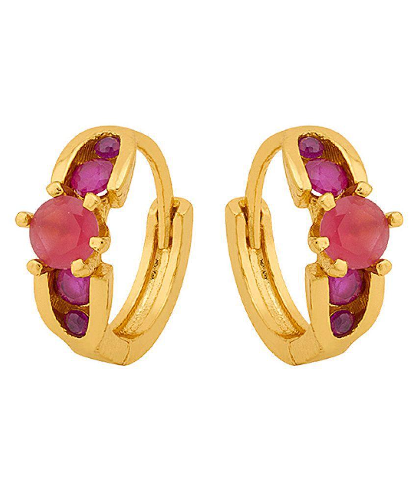 Voylla  Generic CZ Huggie Hoop Earrings with Pink Gems
