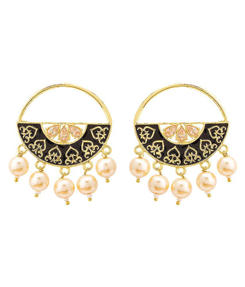 Voylla Gold Plated Black Enamel Chandbali Hoop Earrings