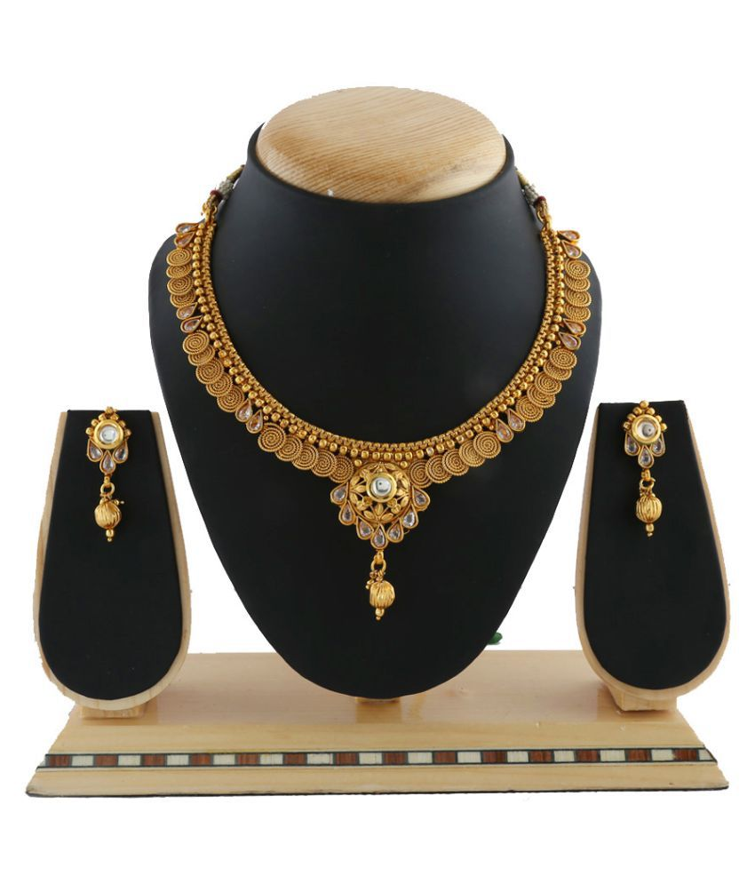 Anuradha Art Gold Colour Studded With Kundan & Sparkling Stones Stylish Traditional Necklace Set For Women/Girls