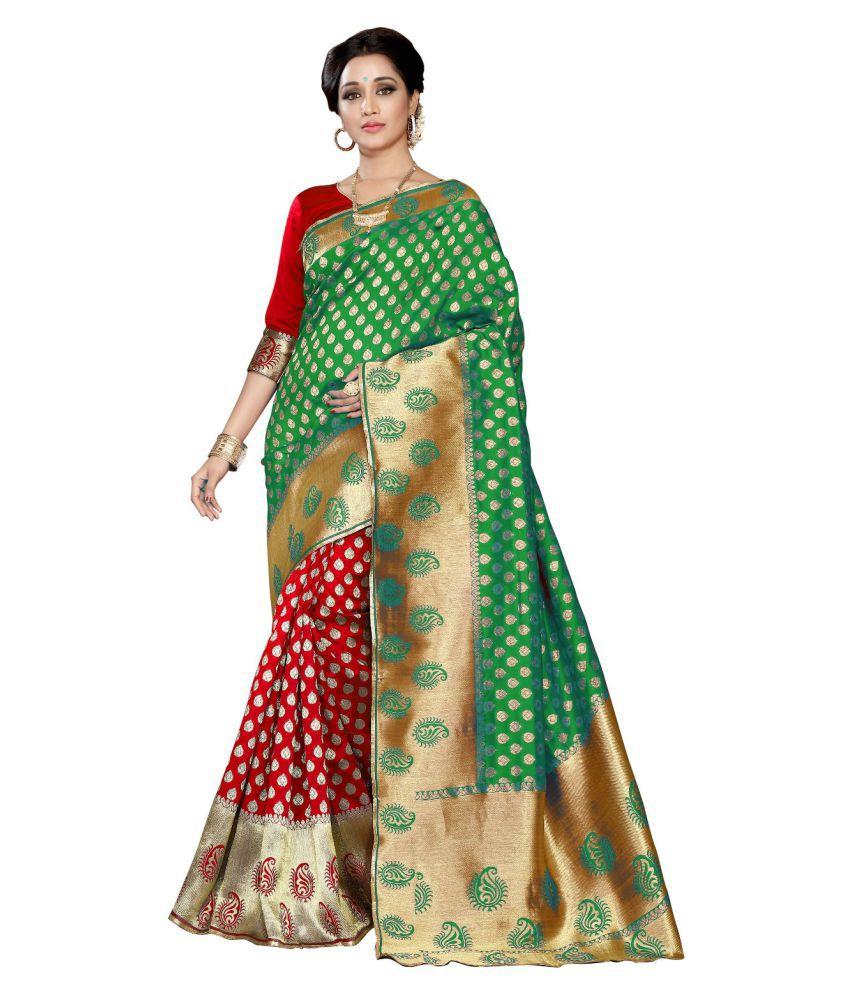 RJ Trandz Green Banarasi Silk Saree