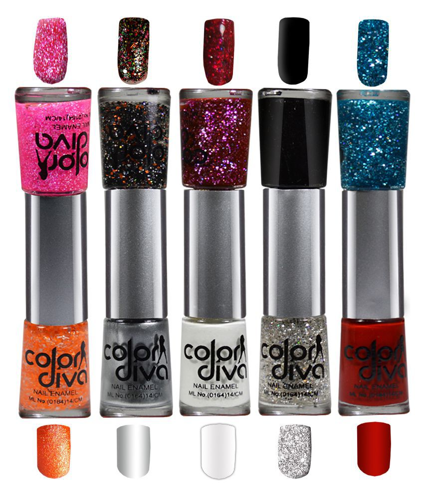 Color Diva Dual Nail Polish Multicolor Shimmer + Glossy Pack of 5 ...