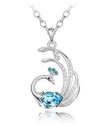 Eleganzza Silver Crystal Peacock Pendant for Girls & Women