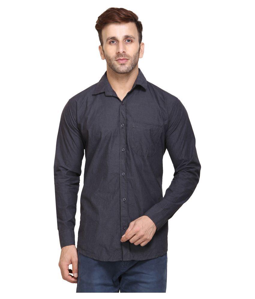 Maggivox Grey Casual Regular Fit Shirt