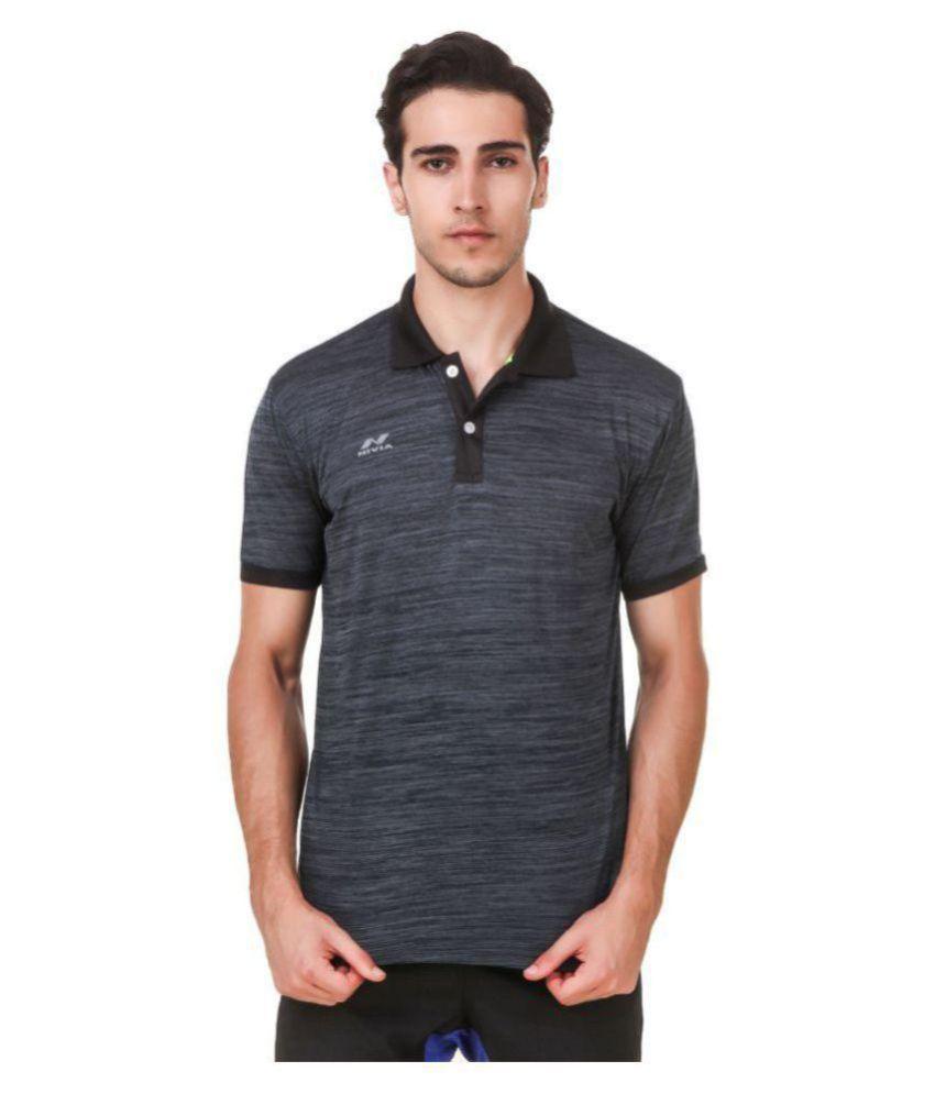 Nivia Grey Polyester Polo T-Shirt