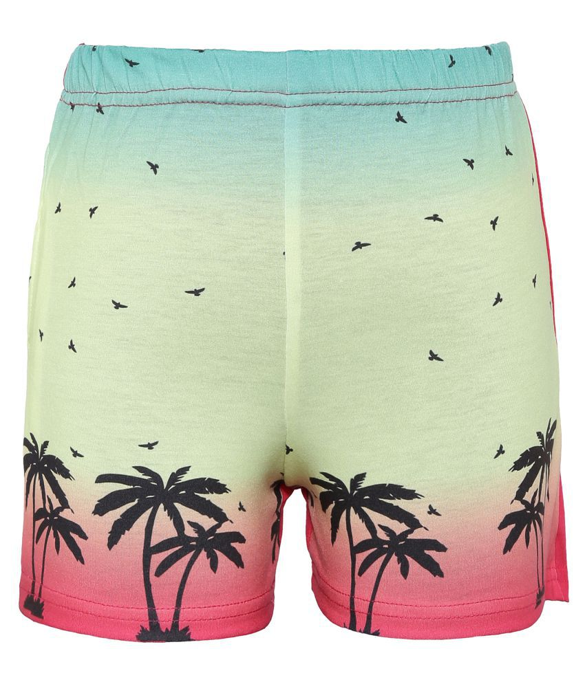 Punkster Pink Printed Casual Shorts Fir Girls