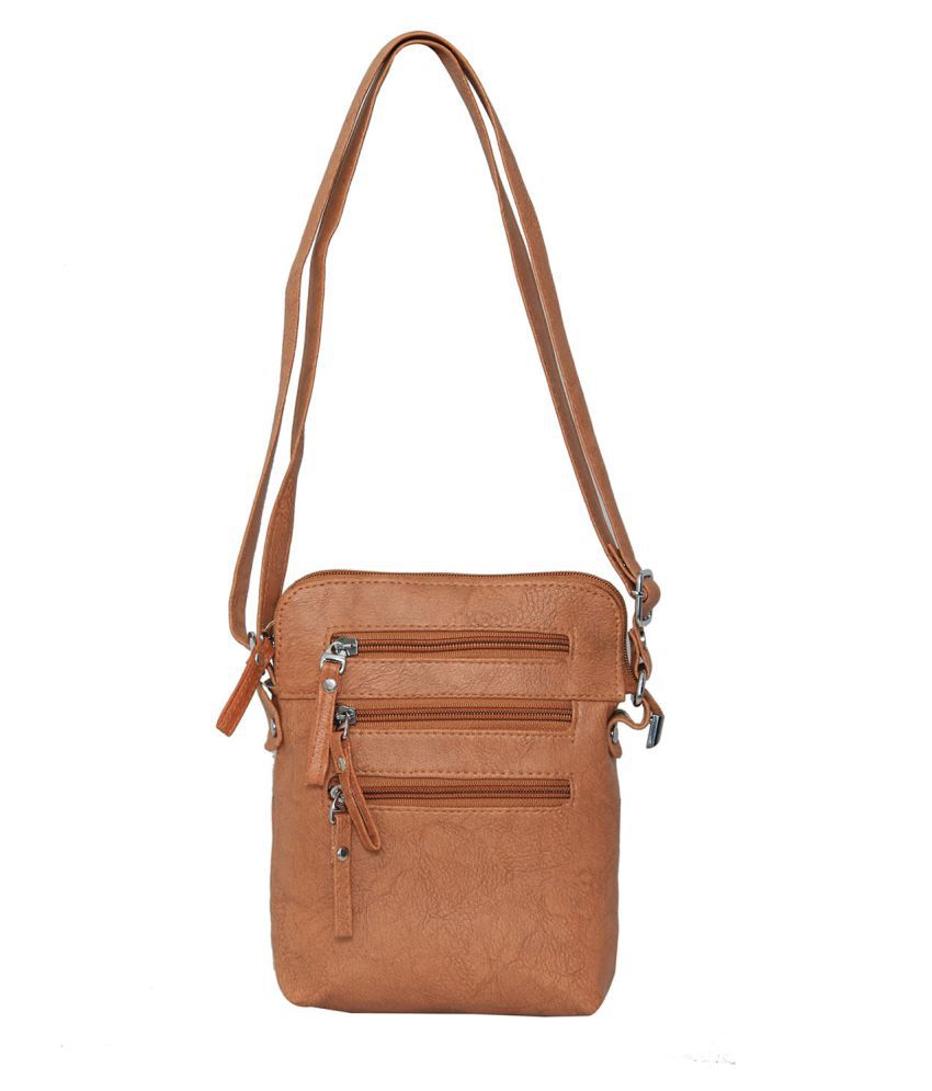 Rehan's Brown Artificial Leather Sling Bag