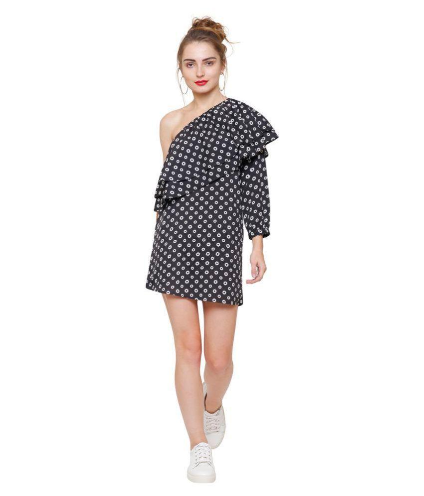 Marzeni Poly Crepe Multi Color A- line Dress