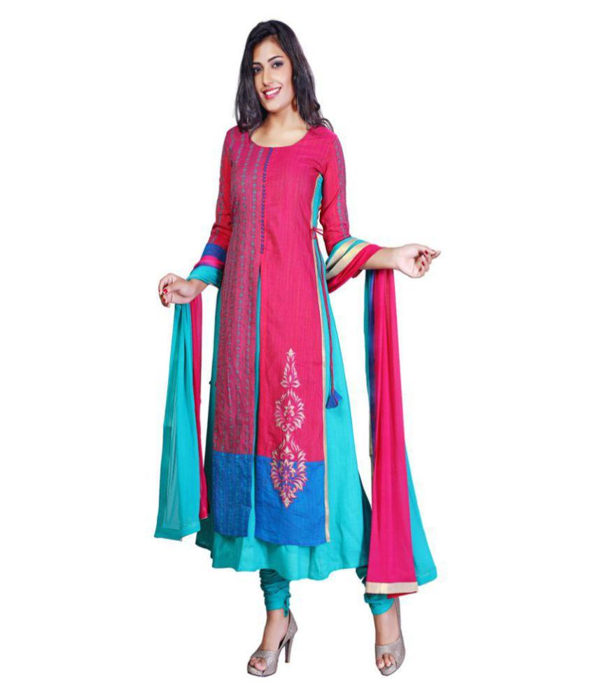 PAYAL Pink Chanderi A-line Stitched Suit
