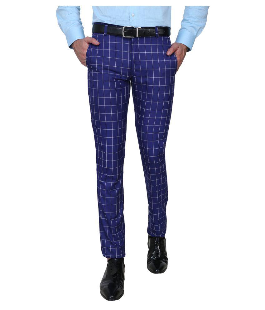 Shaurya-F Blue Slim -Fit Flat Trousers