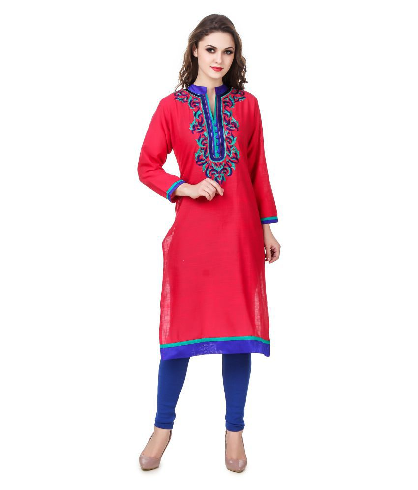 A Ashi Collection Red Cotton Straight Kurti