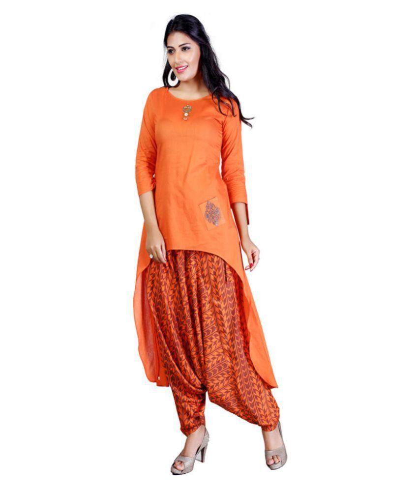 PAYAL Orange Cotton A-line Stitched Suit
