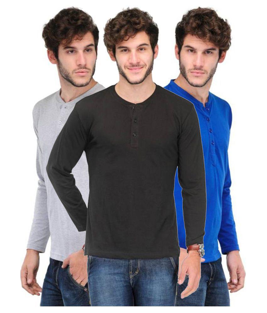 Van Galis Multi Henley T-Shirt Pack of 3