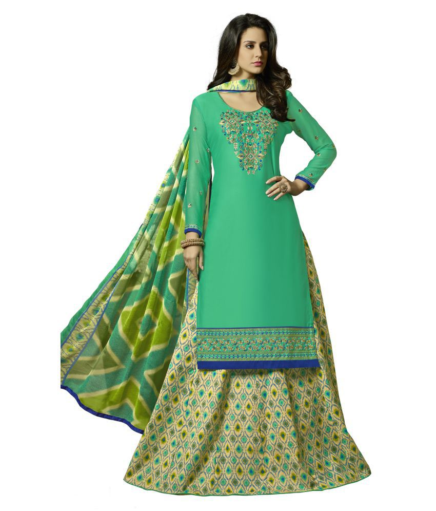 Stylee Lifestyle Green Cotton Dress Material