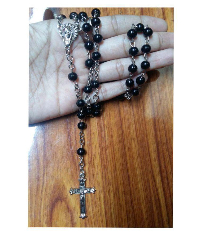 Shiv Jagdamba NEW Catholic Saint Virgin Mary Rosary Porcelain Black Silver  Crystal Beads Necklace Silver Plated Jesus Crucifix Cross Pendant Silver