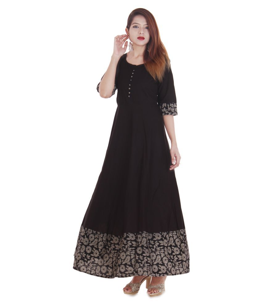 Vedika Overseas Black Cotton Straight Kurti