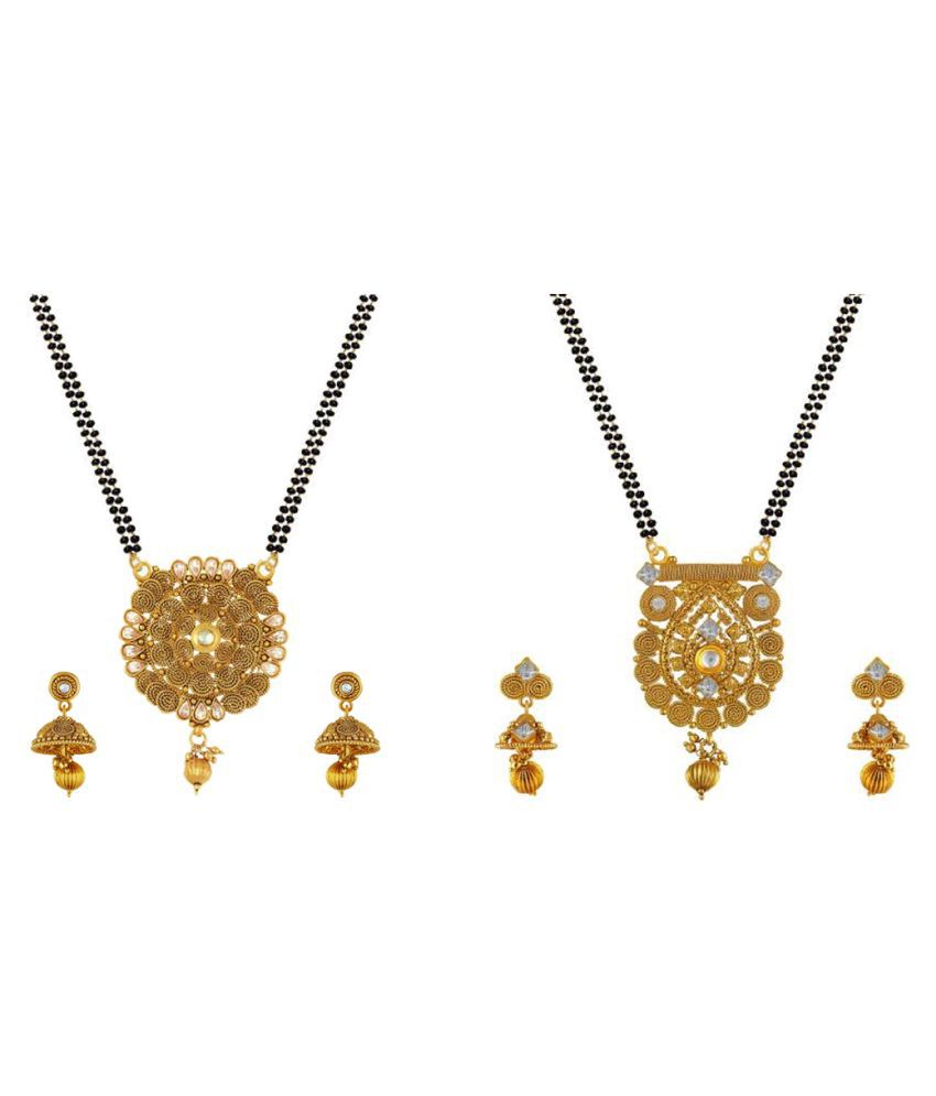 Aabhu Popular Combo of 2 Mangalsutra with Chain and Earrings Jewellery Set for Women