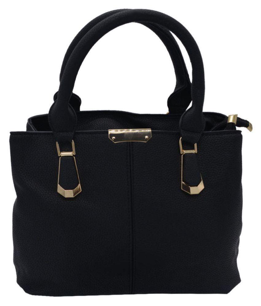 Glitters Online Black P.U. Shoulder Bag
