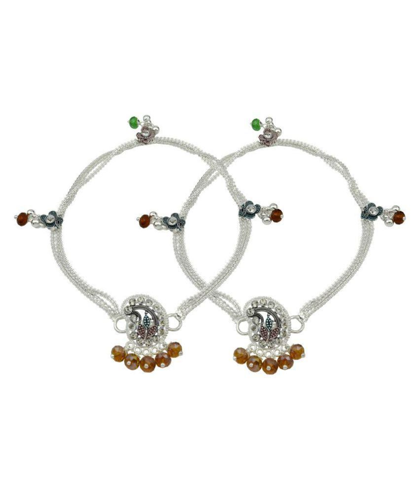 High Trendz Silver Crystal Alloy Anklets