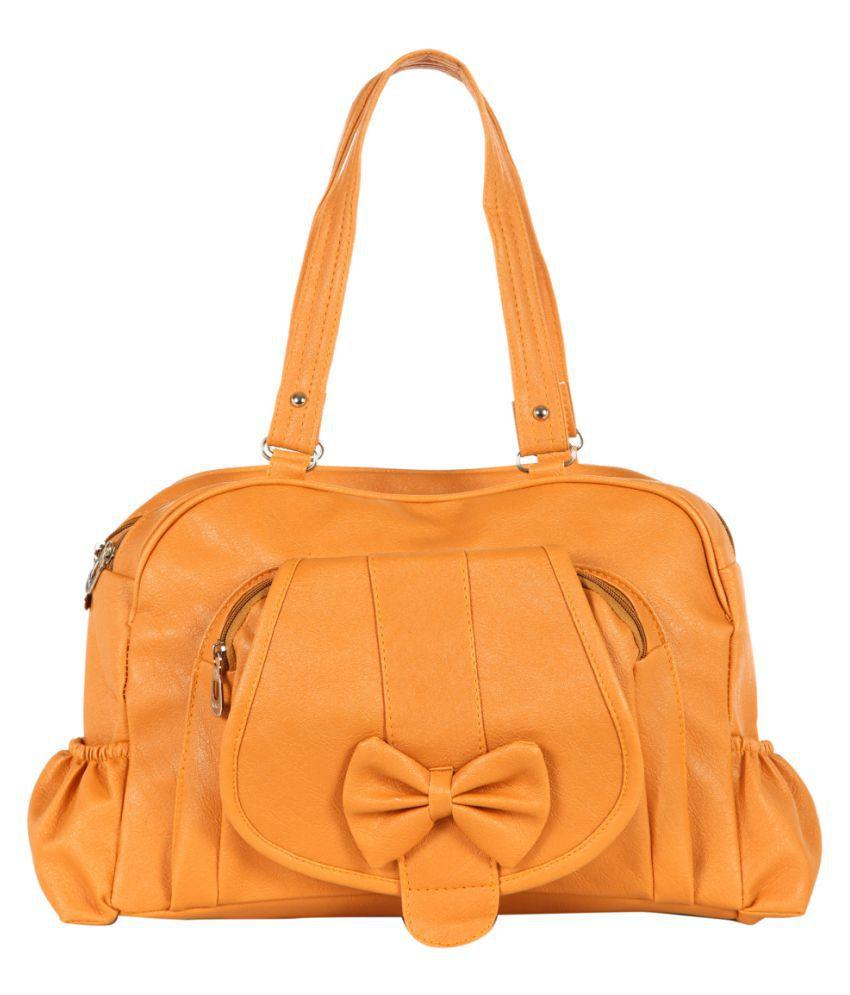 Paras Fashions Yellow P.U. Shoulder Bag