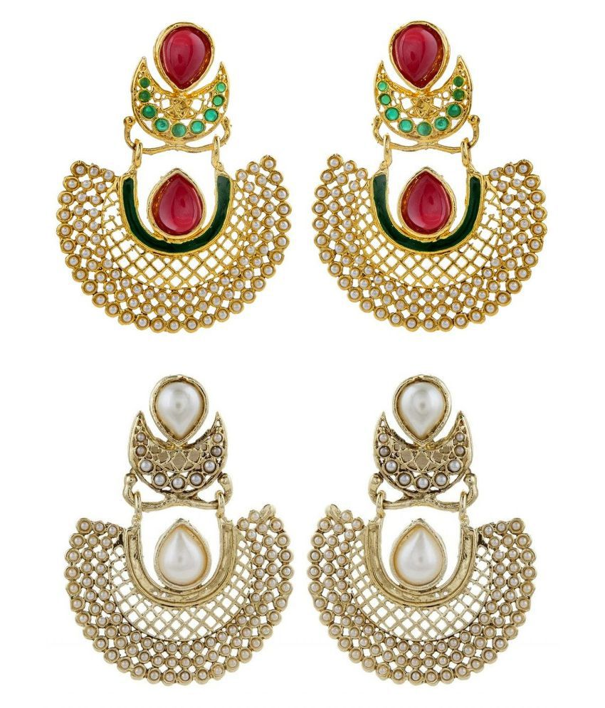 The Jewelbox Gold Plated Pearl Multicolor Chaand Bali Earring Combo For Women