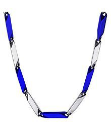 316L Stainless Steel Italian Style Thin Stick Two-Tone Blue Color Necklace Chain Link for Men / Women 3mm