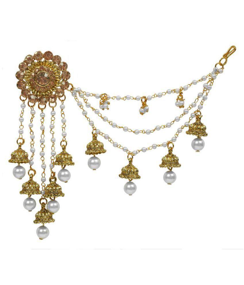 Aadita Bahubali Design Heavy Earrings with Hair Chain for Women ...