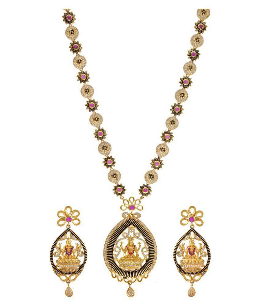 One Gram Gold Plated Laxmi Necklace Set By Sapna FX 10168