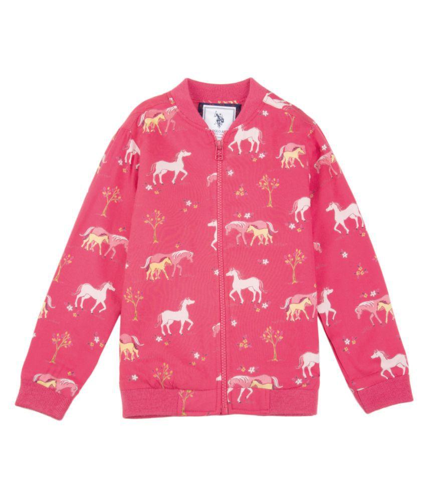US Polo Girls Pink Casual Sweat Shirt