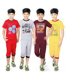 Zippy Boy's Cotton Multicolor Nightsuits Pack of 4