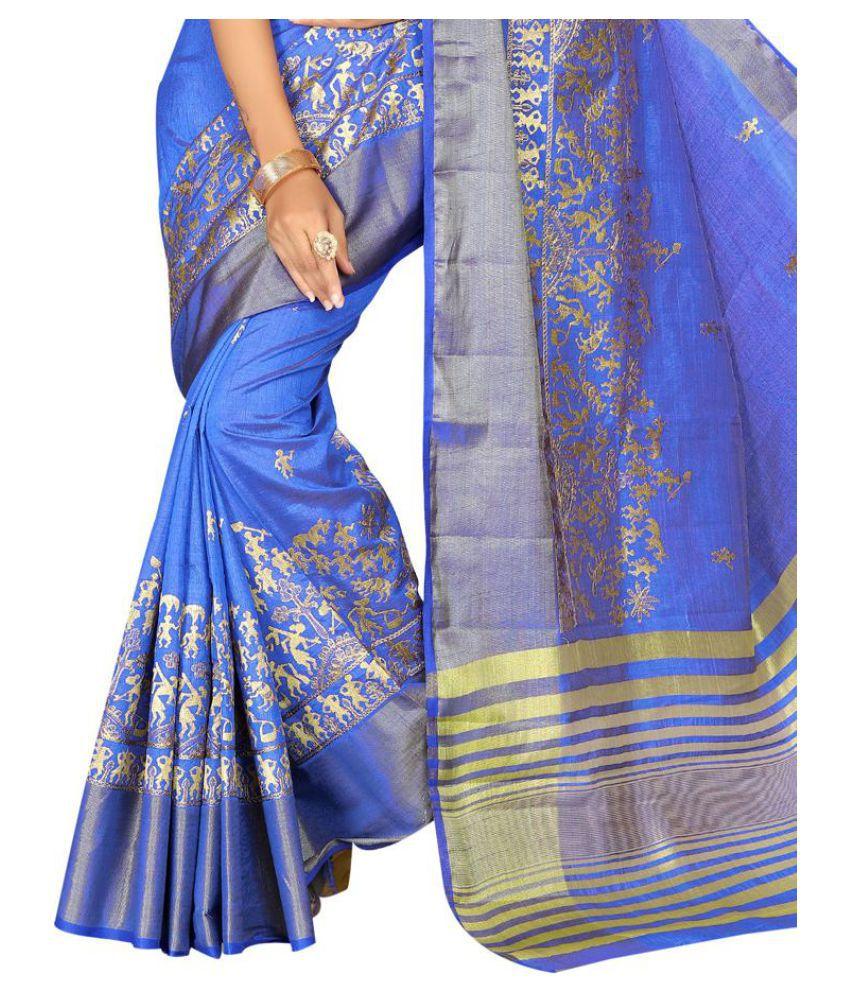 Kumaran Silks Blue Raw Silk Saree