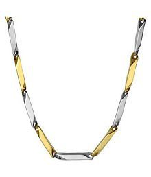 316L Stainless Steel Italian Style Thin Stick Two-Tone Gold Silver Necklace Chain Link for Men & Women-3mm