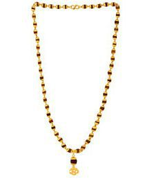 Onnet Gold Plated Rudrasha Mala With Om Rudraksha Pendant in 7mm Beads