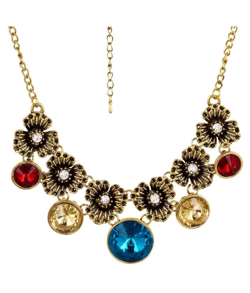 Fayon Fabulous Statement Vintage Roses and Multicolor Gemstone Crew Necklace