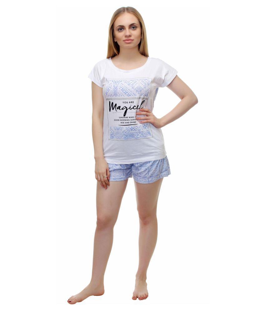 KOTTY Cotton Nightsuit Sets - White