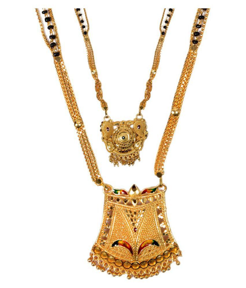 Mansiyaorange Combo Of Two Party Wedding Wear One Gram Gold Mangalsutra For Women