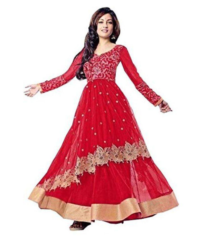 harikrishnafashionwork Red Net Straight Stitched Suit