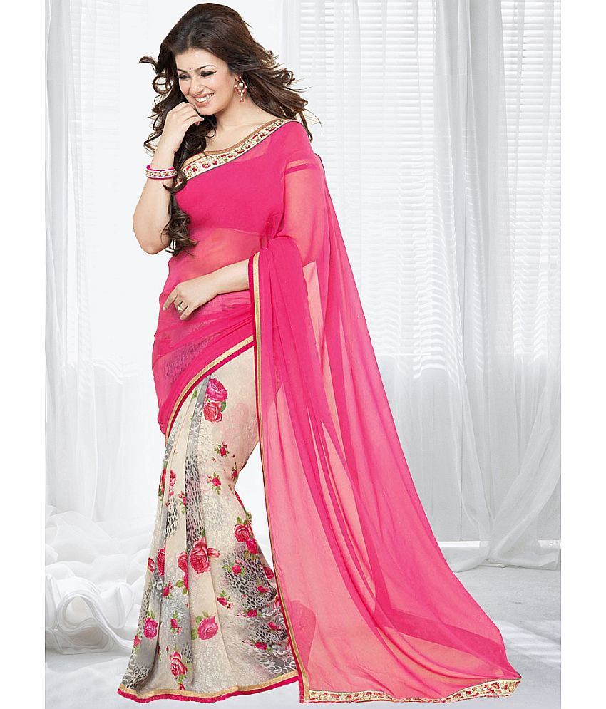 81f60ac642 Gazal Fashions Pink and Beige Chiffon Saree - Buy Gazal Fashions Pink and  Beige Chiffon Saree Online at Low Price - Snapdeal.com