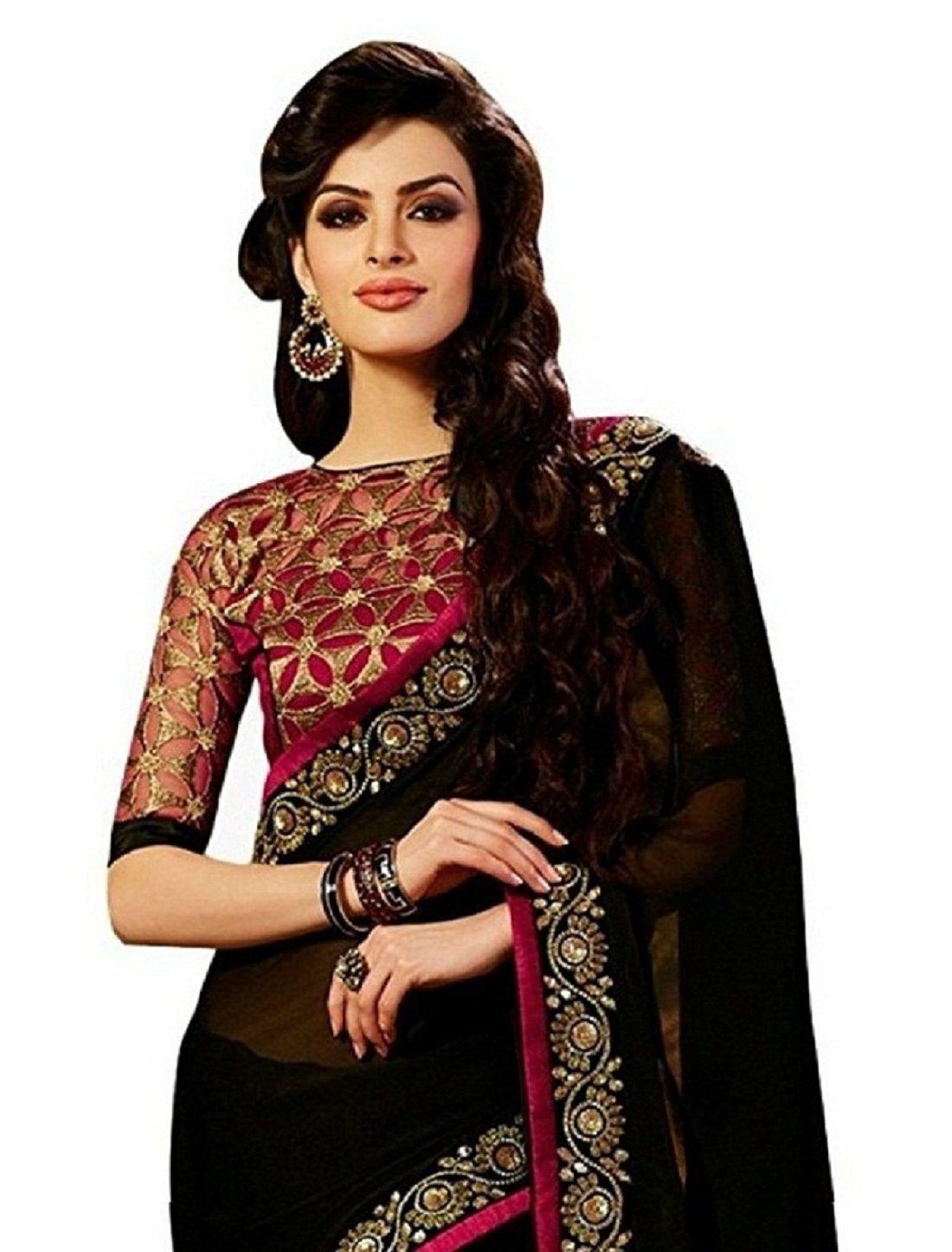 Hani Fashion Black Georgette Saree