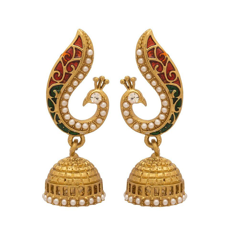 24K Gold Plated Royal Pearl And Meena Traditional Jhumki