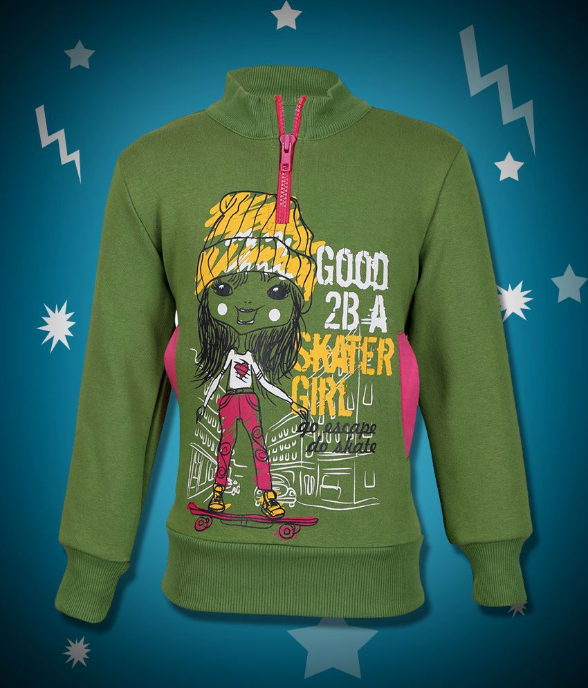 Cool Quotient Green Cotton Without Hood Sweatshirt For Girls